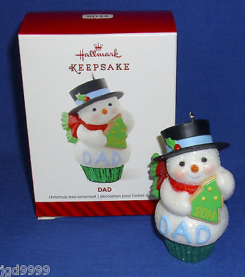Hallmark Christmas Ornament Dad 2014 Snowman Cupcake with Tree Cookie Father NIB