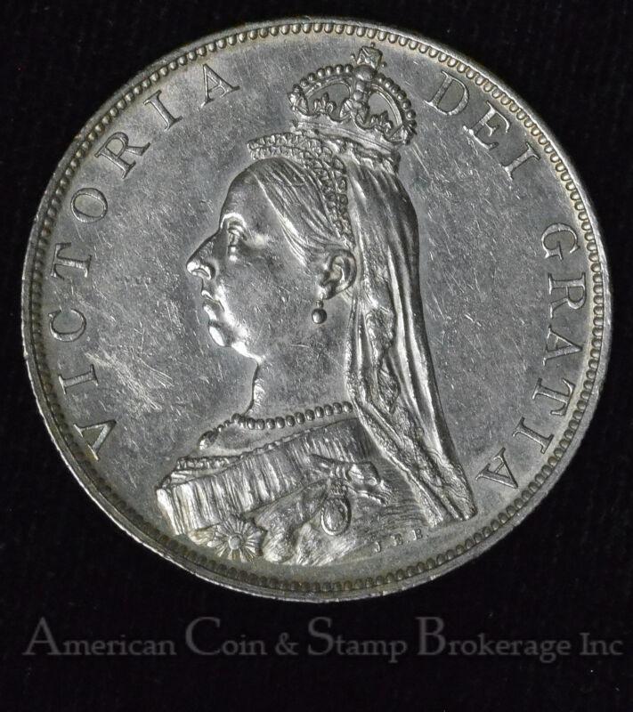 Great Britain Double Florin 1887 AU silver KM#763 2F Queen Victoria Roman 1