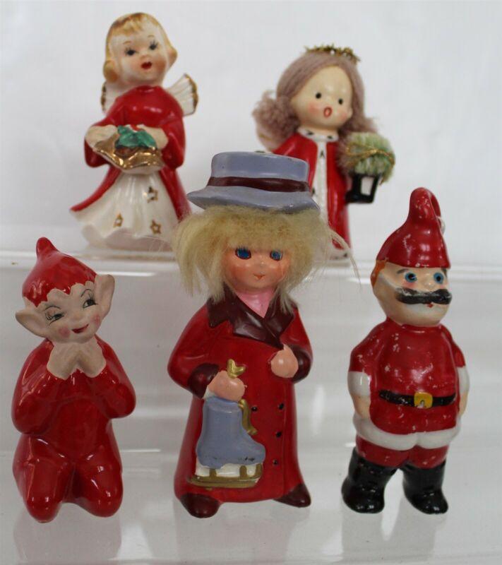 Vintage Napco Yarn Hair Angel & Ice Skater Christmas Figurines Red Elf Lot of 5
