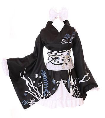 MN-28 Haruka Yosuga no Sora schwarz 6-tlg. Kimono Set Lolita Kostüm Cosplay