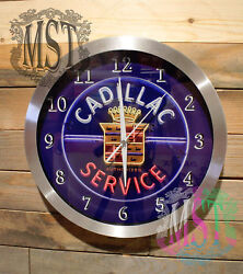 Cadillac Service Retro Wall Clock Lg 12 inch Silent Sweep Hand Glass Aluminum