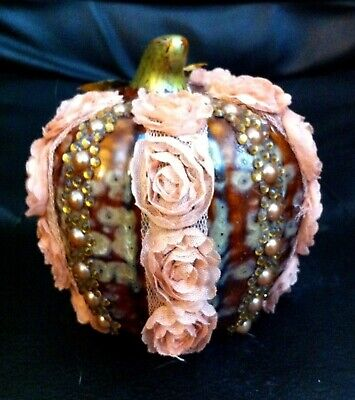 LOVELY CERAMIC HAND DECORATED BROWN PUMPKIN FIGURINE/FALL DECOR - ALTERED ART