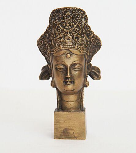 Kwan Yin Guanyin Bodhisattva Brass Head Bust