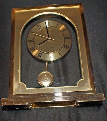 Vintage Linden Quartz Pendulum Mantel clock Solid Brass & Glass 4RP681 Japan