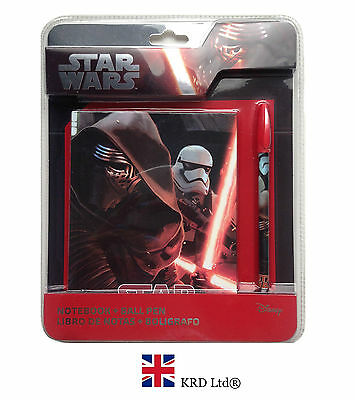 STAR WARS Force Awakens NOTEBOOK & PEN SET Episode VII Kylo Kids Birthday Gift