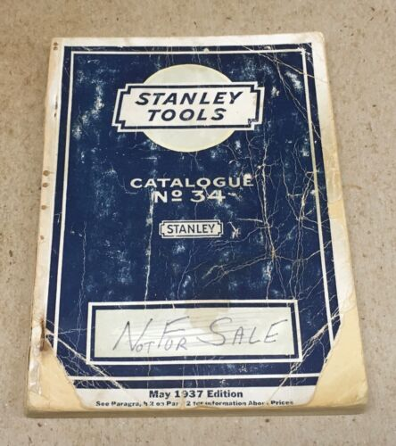 STANLEY NO.34 - 1937 TOOL CATALOGUE - ROUGH COVER