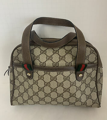 Gucci Accessory Collection Brown Tan Handbag Purse Made In Italy