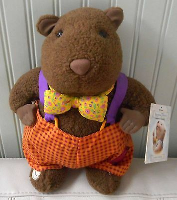 HALLMARK Storybook Friends GROUNDHOG Plush Stuffed Bow Tie Overalls NWT 12""