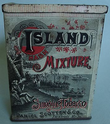 "VERY HTF ""ISLAND MIXTURE"" VERTICAL BOX ADVERTISING TOBACCO TIN NEAR MINT GRAPHIC"
