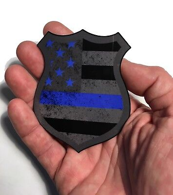 The Police Thin Blue Line Shield Reflective badge Decal Sticker 3.5 x 3 inch