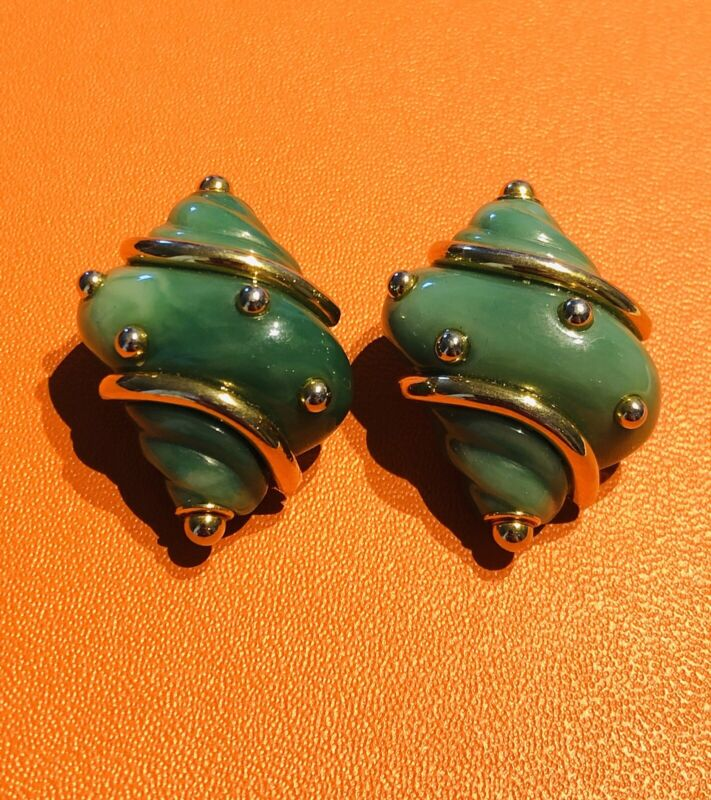 Vintage Kenneth Jay Lane KJL Gold Plated Green Resin Shell Earrings