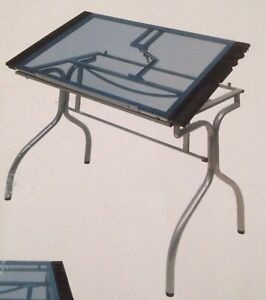 Folding craft station / table with glass top