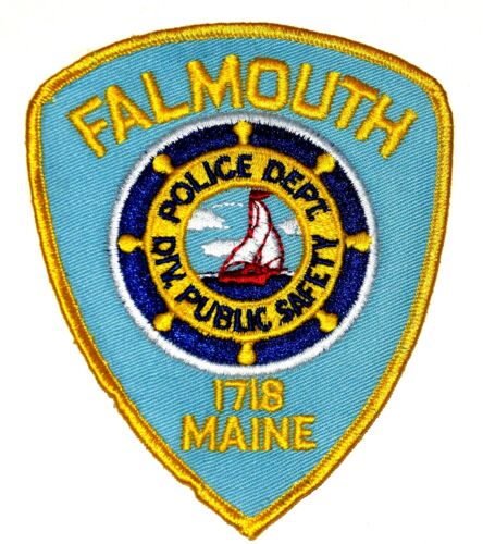 FALMOUTH – PUBLIC SAFETY - MAINE ME Police Sheriff Patch SHIPS WHEEL SAILBOAT ~