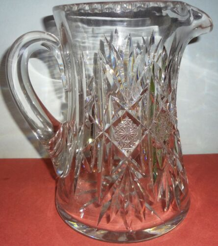 """1890 ABP signed HAWKES BRILLIANT PERIOD CUT GLASS water 7 1/2"""" PITCHER-GEOMETRIC"""
