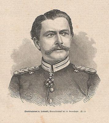 Oberstleutnant Paul von Leschynski HOLZSTICH v 1871 Deutsch-Französischer Krieg