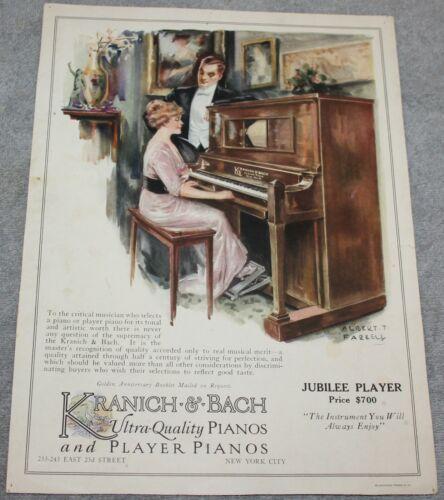 ANTIQUE KRANICH & BACH JUBILEE PLAYER PIANO ADVERTISING AD 1915