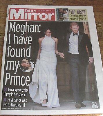 The Daily Mirror Royal Wedding Harry Megan  Newspaper May 20 2018.