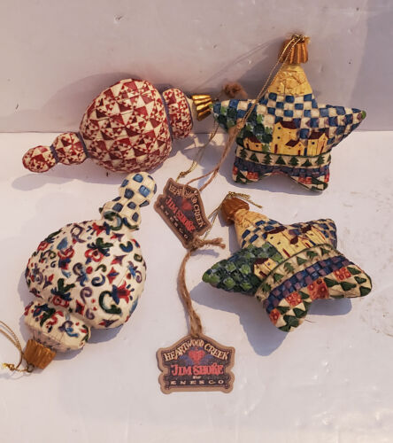4 Jim Shore Heartwood Creek Ornaments Star Village Buildings ALL NICE