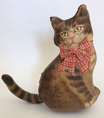 """Handmade 8"""" Stuffed Cat Kitten Pillow ~ Home Decor Old-Fashioned Vintage-look"""