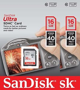 2-PACK-SanDisk-Ultra-16-GB-32GB-SDHC-SD-Class-10-40MB-S-266X-Card-UHS-I-HD