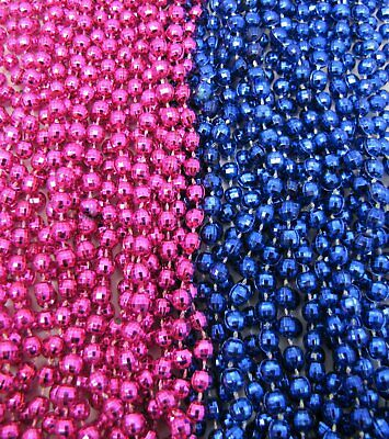 Pink Mardi Gras Beads (2 dz Mardi Gras Beads HOT PINK/BLUE Gender Reveal Party Baby Shower 24)
