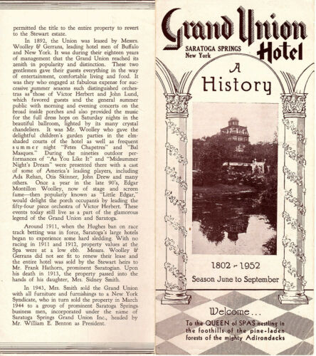 A History of the Grand Union Hotel Saratoga Springs New York 1952 Pamphlet