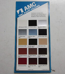 1981 amc concord spirit eagle color chart brochure ebay