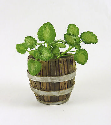 Dollhouse Miniature Fairy Garden Resin Barrel Planter w/ Staves, 16854 NO PLANTS