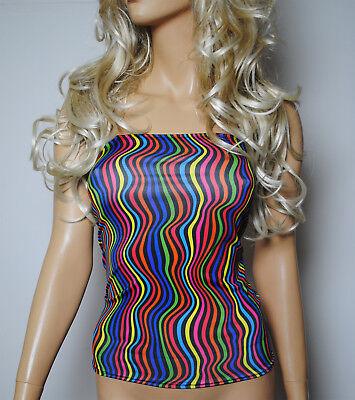 Clubwear Tube Top (Boob Tube Top Black UV Rainbow Lines Lycra Strapless BANDEAU Clubwear Party W746)