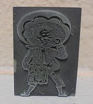 Vintage Rodeo Clown Logo Metal Wood Letterpress Printing Block