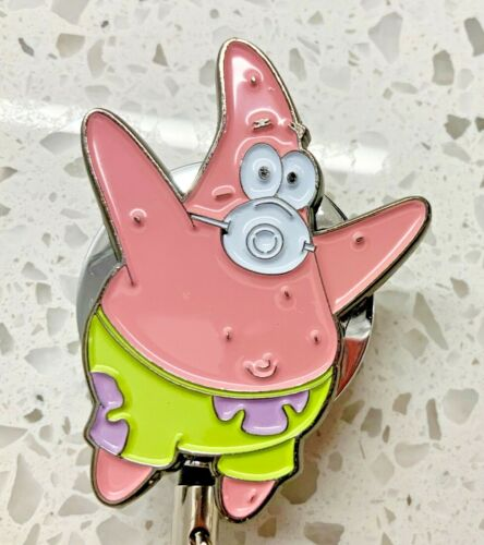 SpongeBob Square Panrs Patrick  Face Mask ID Holder Retractable All Metal