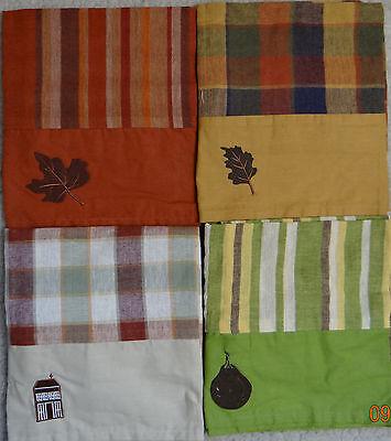 NIP CHRISTMAS TREE SHOPS leaf/pear/house applique striped/plaid - Christmas Tree Shop Curtains