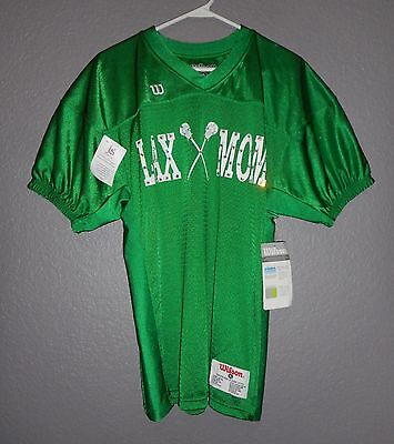 "Lacrosse ""LAX MOM"" EMBELLISHED Lax Short Sleeve Green Jersey Shirt YOUTH LARGE"