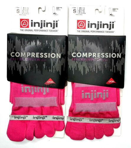 Injinji Toe Socks Compression Pink Ex-Celerator SMALL Running Trail LOT OF 2