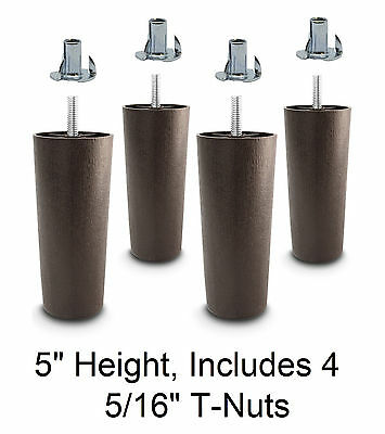 5″ Universal Dark Brown Plastic Legs Sofa/Couch/Chair 5/16″ – Set of 4 w/T-Nuts Furniture