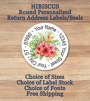 Personalized Round Printed Return Address Labels Seals Hibiscus Flower 1
