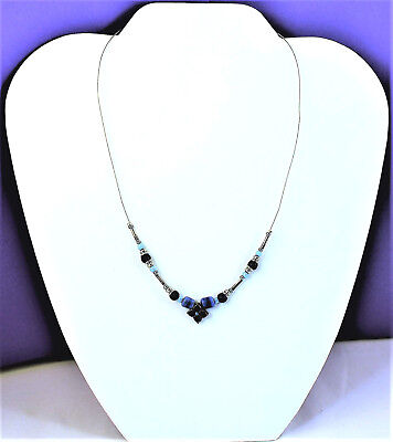 Vintage Light Medium Dark Blue Beads Flower Pendant Cable Necklace Claw Clasp (Dark Claw Costume)