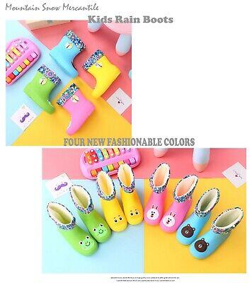 Girl Cartoon Character (Kids Rain Boots W/Liner Waterproof Toddler Girls Boys Cartoon 3D)