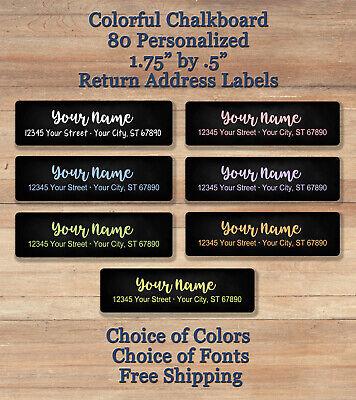 80 Personalized Printed Peel Stick Colorful Chalkboard Return Address Labels