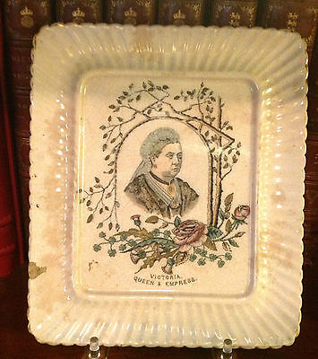 Antique Queen Victoria Golden Jubilee Transfer Stoneware Plate c. 1887