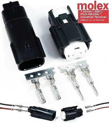 Molex 2 Pin Connector 12-10 Awg 30 Amp W Cpa Waterproof Sealed Kit Mx150l