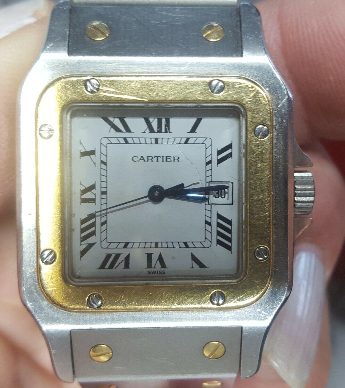 Santos de Cartier Automatik Damenuhr Datum Edelstahl/Gold gebraucht OR ET ACIER