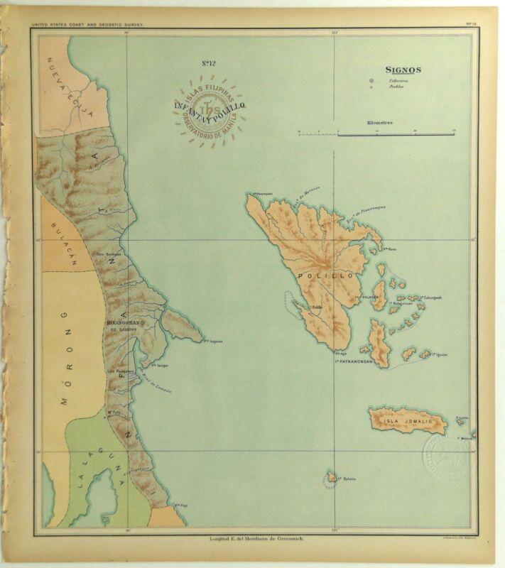 1899 Official US Navy Jesuit Observatory Map Philippine Islands Polillo Infanta