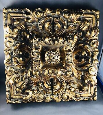 carved mixed wood relief plaque Gold Leaf Guilting