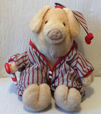 1994 Plush Younkers Pig In Pajamas   Cloth Candy Cane Yoinki