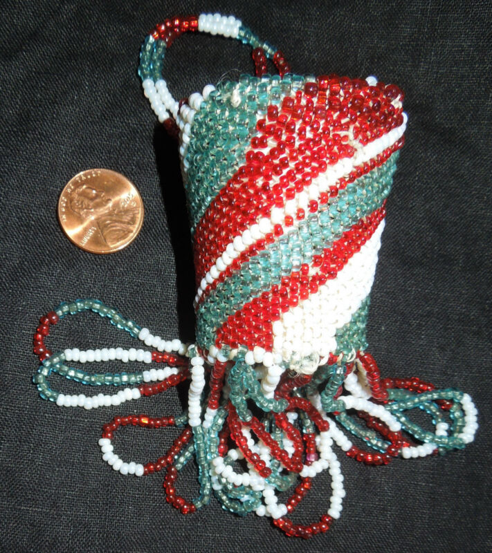 Apache BEADED BURDEN BASKET Miniature *Nina Kinney*Red/Turquoise/White*Deerskin*