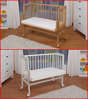 WALDIN Baby Beistellbett,Wiege,Babybett,große Liegefläch 90x55,Buche weiß/natur!