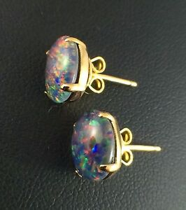 Genuine Lightning Ridge Stud Claw Triplet Opal Earrings w Cert / 18k Gold Plated