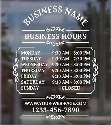 Custom Business Hours Open Hours Front Door Window Vinyl Decal 12 Wide