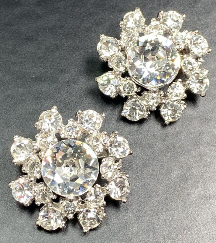 "BOGOFF Signed Vintage Scatter Brooch Pins 1"" 2pc Crystal Rhinestone Flowers"